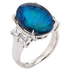 Natural 6.02ct Black Opal Ring Lightning Ridge Diamond Estate Platinum Sz 5.5