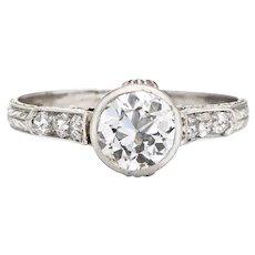 Vintage Art Deco 1ct Diamond Engagement Ring Platinum Fine Bridal Jewelry 5.75