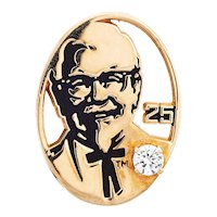 KFC Colonel Sanders Pin Diamond 10 Karat Gold Kentucky Fried Chicken 25th Anniversary