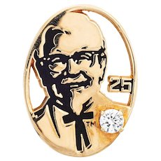 KFC Colonel Sanders Pin Diamond 10 Karat Gold Kentucky Fried Chicken 25th Anniversary