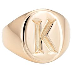 Tiffany & Co Signet Ring Vintage 14 Karat Yellow Gold Sz 4 Pinky Jewelry Letter K