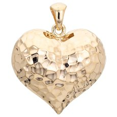 Puffed Heart Pendant Vintage 14 Karat Yellow Gold Hammered Design Hollow Jewelry