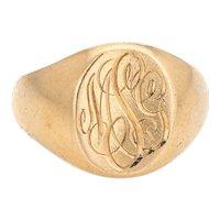 Tiffany & Co Larter & Sons Signet Ring Vintage 14 Karat Yellow Gold Sz 6.5 Jewelry