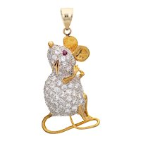 2ct Diamond Mouse Pendant Vintage 18 Karat Yellow Gold Estate Fine Animal Jewelry