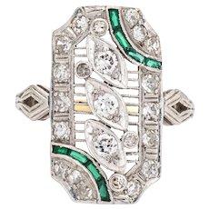 Vintage Art Deco Diamond Emerald Ring Platinum Filigree Sz 6.5 Dinner Jewelry