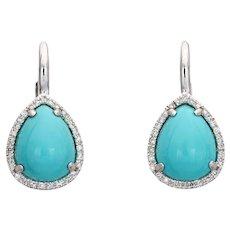 Persian Turquoise Diamond Earrings Estate 14 Karat White Gold Pear Shaped Jewelry