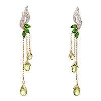 Diamond Peridot Drop Earrings Vintage 10 Karat Yellow Gold Tsavorite Garnet Jewelry