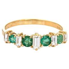 Emerald Diamond Ring Vintage 18 Karat Yellow Gold Wedding Band Sz 10.5 Estate Jewelry