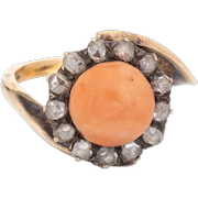 Antique Victorian Ring Coral Rose Cut Diamond Vintage 14 Karat Yellow Gold Jewelry 7
