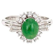 Certified Natural A Grade Jadeite Jade Ring Estate Platinum Jewelry Sz 5.25