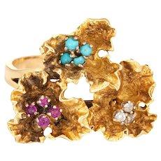 Paper Flowers Gemstone Ring Vintage 18 Karat Yellow Gold Ruby Turquoise Jewelry Sz 6