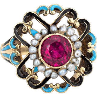 Antique Edwardian Enamel Ring Vintage 14 Karat Yellow Gold Seed Pearls Sz 2.5