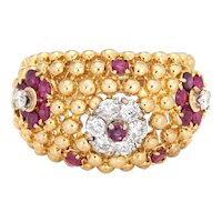 Ruby Diamond Ring Domed Flower 18 Karat Gold Band Vintage Jewelry Estate Sz 7.25