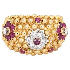 Ruby Diamond Ring Domed Flower 18 Karat Gold Band Vintage Jewelry Estate Sz 7.25
