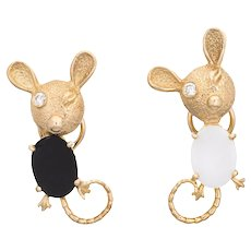 Mouse Earrings Diamond Eyes Vintage 14 Karat Yellow Gold Onyx White Agate Jewelry