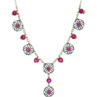 "Antique Edwardian Enamel Drop Necklace Vintage 14 Karat Yellow Gold Seed Pearls 16"""