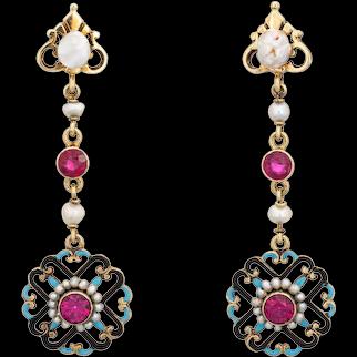 "Antique Edwardian Enamel Drop Earrings Vintage 14 Karat Yellow Gold Seed Pearls 2"""