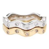 Set of 2 Diamond Rings Estate 14 Karat Two Tone Gold Undulating Bands Sz 7.5 Jewelry