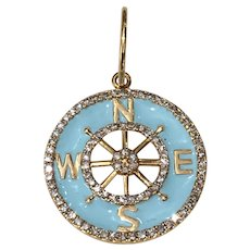 Diamond Compass Charm Estate 14 Karat Yellow Gold Blue Enamel Travel Pendant