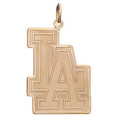 LA Dodgers Charm Vintage Los Angeles Pendant 14 Karat Yellow Gold c2006 Jewelry MLB