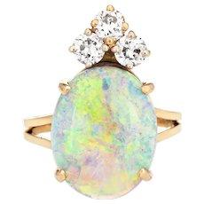 Natural Opal Diamond Ring Vintage 14 Karat Yellow Gold Oval Crown Jewelry Sz 6