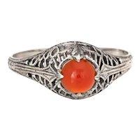 Carnelian Filigree Ring Vintage Art Deco 14k White Gold Estate Jewelry Sz 5.75
