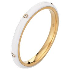 White Enamel Ring Sz 7 Diamond 14 Karat Yellow Gold Fine Jewelry Stacking Band