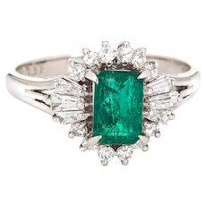 Emerald Diamond Ring Estate Platinum Gemstone Engagement Jewelry Mixed Cuts 6.25