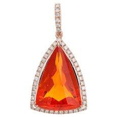 5.23ct Fire Opal Diamond Pendant Estate 14 Karat Rose Gold Triangular Shape Jewelry