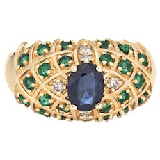 Sapphire Emerald Diamond Dome Ring Vintage 14 Karat Yellow Gold Mixed Gemstones
