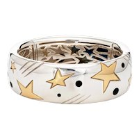 Michael Bondanza Star Bracelet Estate Sterling Silver 18 Karat Yellow Gold Bangle