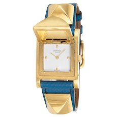 Hermes Medor Watch c1994 Blue Leather Strap Estate Fine Jewelry Pyramid Case