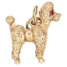Toy Poodle Dog Charm Vintage 14 Karat Yellow Gold Pendant Estate Animal Jewelry