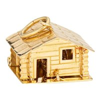 Vintage House Charm 18 Karat Yellow Gold Cabin Opens Cooking Pot Pendant Jewelry