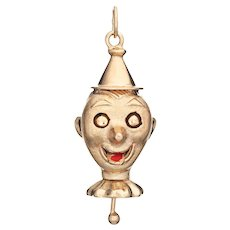 Mechanical Clown Charm Vintage 14 Karat Yellow Gold Enamel Pendant Moveable Jewelry