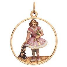 Young Child with Dog Vintage Charm 14 Karat Gold Enamel Pendant Estate Fine Jewelry