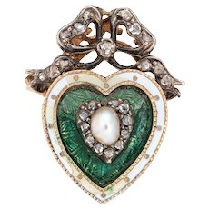Antique Victorian Heart Ring Pearl Diamond Guilloche Enamel 15 Karat Gold Silver Bow
