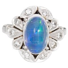 3.15ct Natural Jelly Opal Diamond Ring Platinum Estate Fine Jewelry Sz 6