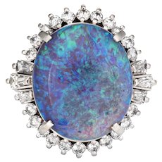 7.86ct Semi Black Opal Diamond Ring Platinum Estate Cocktail Ring Fine Jewelry