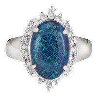Black Opal Diamond Ring Estate Platinum Sz 5.75 Fine Gemstone Cocktail Jewelry