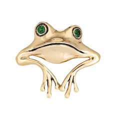Frog Pendant Enhancer Vintage 14 Karat Yellow Gold Estate Fine Animal Jewelry
