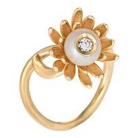 Diamond in Pearl Flower Ring Vintage 14 Karat Yellow Gold Estate Fine Jewelry Sz 7.5