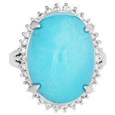 Egg Shell Blue Turquoise Diamond Ring Platinum Estate Large Cocktail Jewelry 6