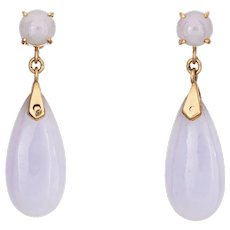 Lavender Jade Drop Earrings Vintage 14 Karat Yellow Gold Pear Shaped Estate Jewelry