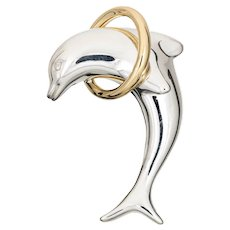Tiffany & Co Dolphin Brooch Vintage Sterling Silver 18 Karat Gold Signed Jewelry