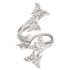 Diamond Articulated Butterfly Ring Estate 18 Karat White Gold Moving Jewelry Fine