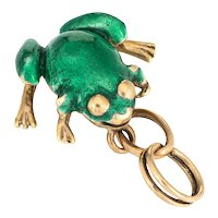 Green Enamel Frog Charm Vintage 14 Karat Yellow Gold Pendant Estate Fine Jewelry