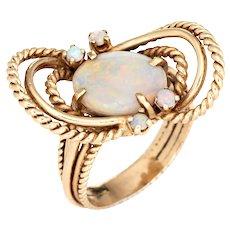 Vintage Opal Ring 14 Karat Yellow Gold Celestial Planets Fine Estate Jewelry 5.75