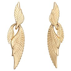 "Long Angel Wing Earrings Vintage 14 Karat Yellow Gold 2.25"" Drops Estate Jewelry"
