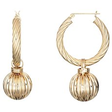 "Vintage Fluted Gold Hoop Earrings Ball Drops 14 Karat Yellow Gold Long 1.75"" Jewelry"